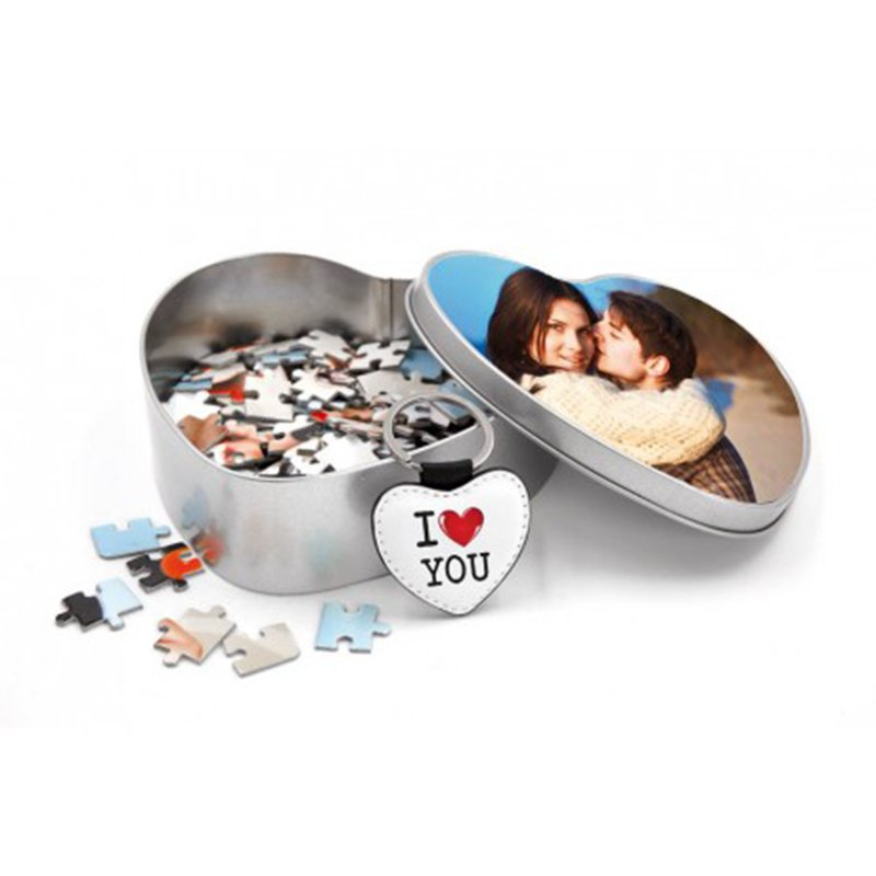LOVE SET: Box in Alluminio Cuore ,Puzzle Cuore A3, Portachiavi in Pelle